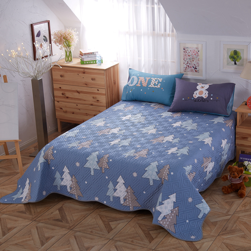 Flat sheet set Cotton fabric 200TC quilt set bed spread cartoon style pine tree forest