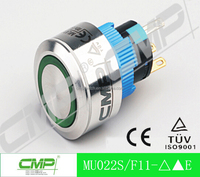 CMP 22mm waterproof ring illuminated stainless steel push button switch