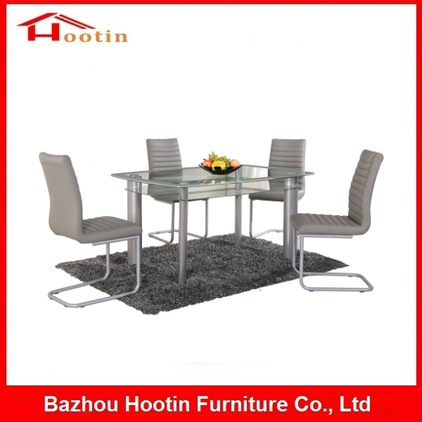 Tianjin Hebei Dining Room Furniture Living Room 4 Seater PU Chair Glass Dining Restaurant Table Royal Dining Set