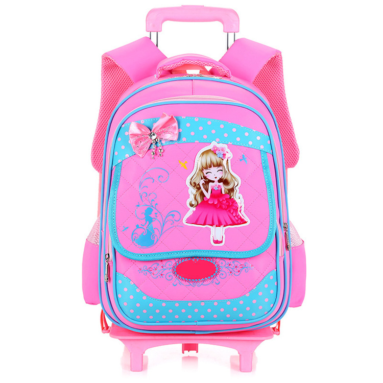 China Name Brand Custom Kids School Bag With Wheels