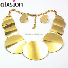 AFXSION Custom African fashion high-quality stainless steel gold jewelry set