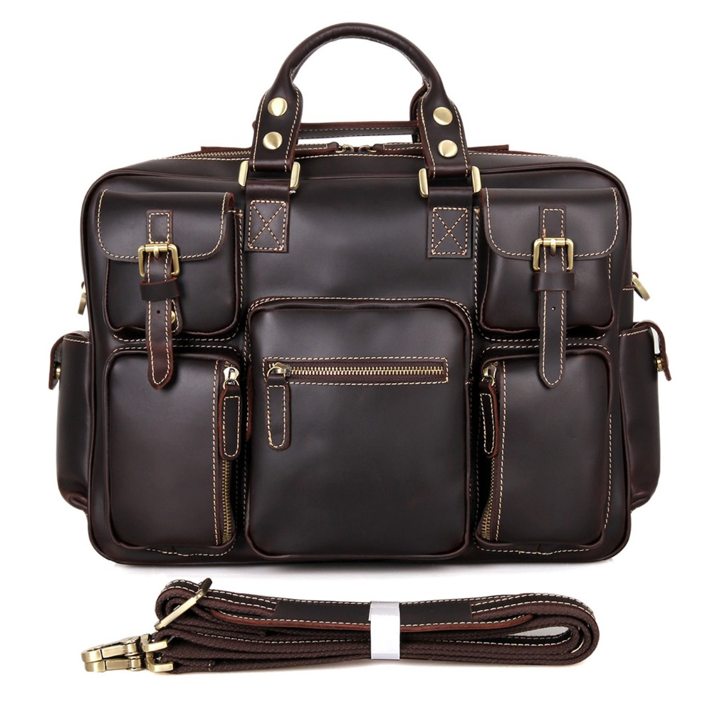 Hot Sale Best-reviewed Western Style Fashion Man Chocolate Color Genuine Leather Handbag Bag 7028Q