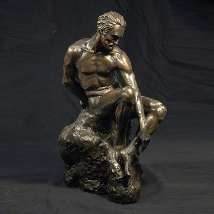 metal craft nude bronze sitting man sculpture for sale