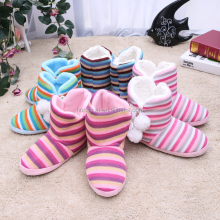 Fashion winter stripe shoes warm women house home snow boots high quality indoor boots
