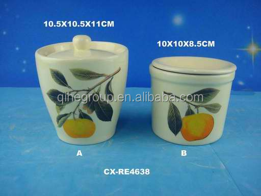 Ceramic olive design sugar canister with spoon lid