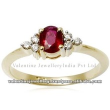 created ruby ring, simple gold ring, 14k gold ring