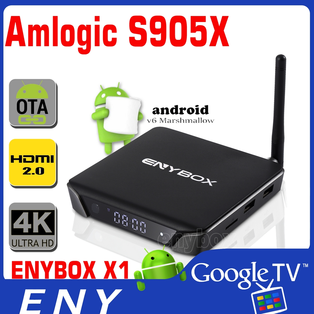 Amlogic S905X ENYBOX-X1 4K Android TV Box 2GB RAM 16GB ROM and 2.4G/5.8G Wifi Set Top Box KODI Goodle smart tv