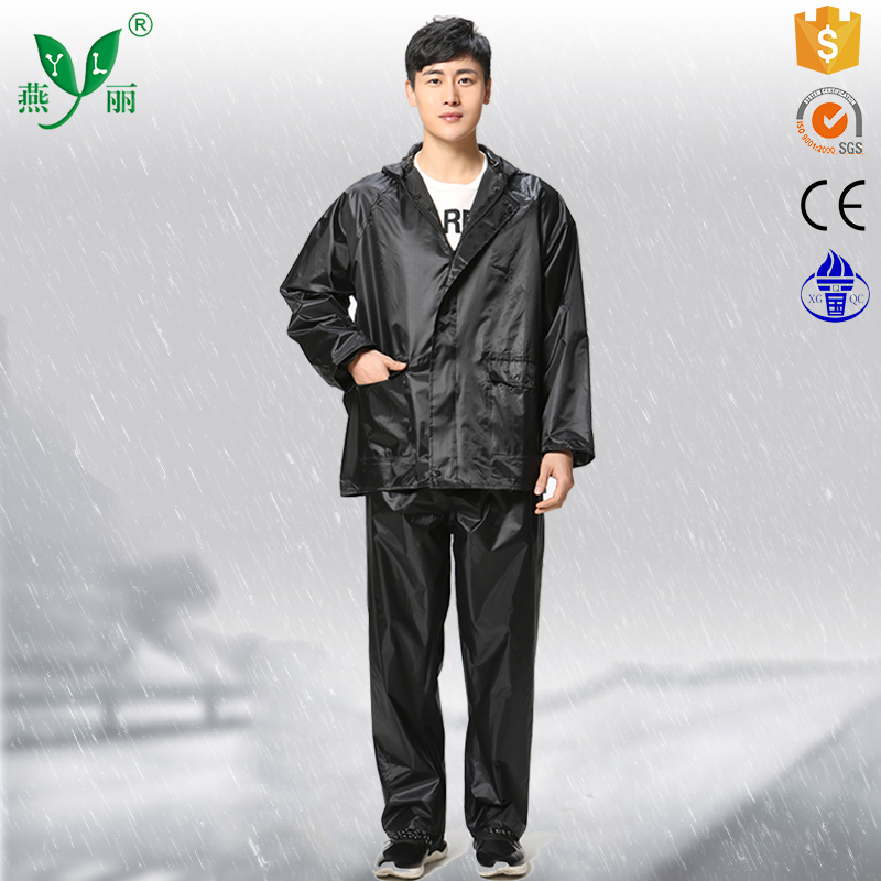 ladies Polyester pvc raincoat with hood long black Polyester pvc raincoat rain suitsuit with sleeves