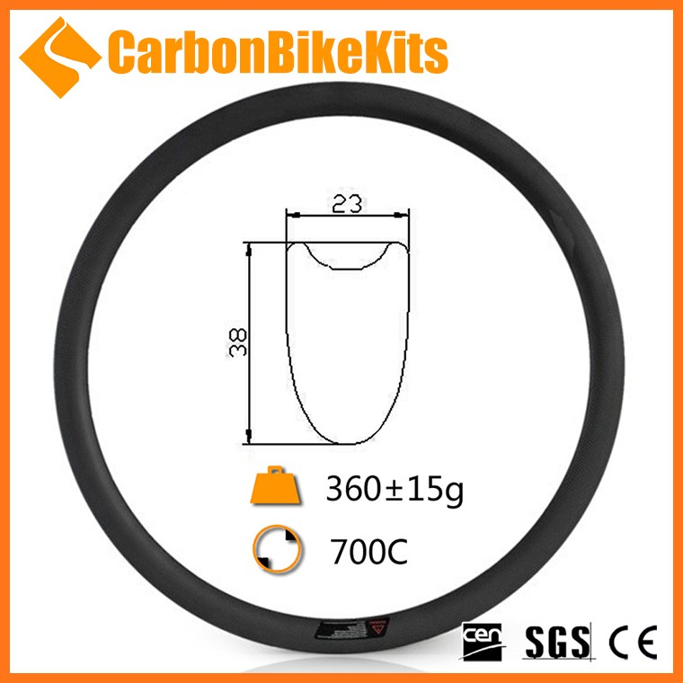 100% Toray Full carbon CarbonBikeKits 23mm wide 38mm deep tubular carbon bicycle rim 700c 36h 20/24 CR38T