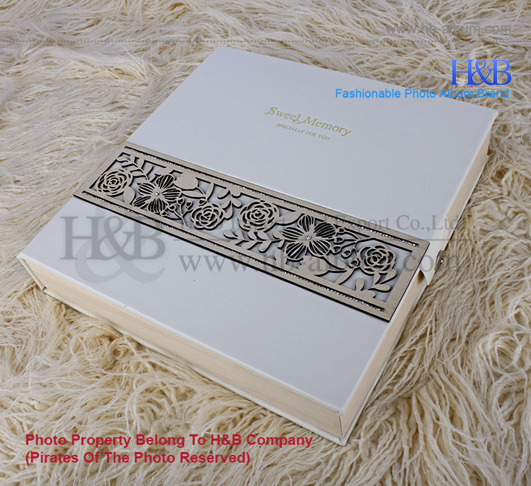 high quality PU leather covered western wedding diy photo album 33.5X33.5cm
