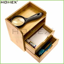 Tabletop Desk Organizer in Office with 2 Bamboo Drawer/Homex_FSC/BSCI Factory