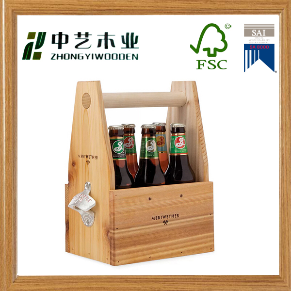 Custom wooden beer holder wooden serving wine tray with handles