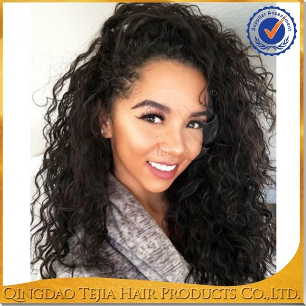 Natural hairline loose curly brazilian virgin unprocessed human hair bohemian full lace wig