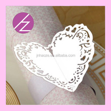 Wholesale cheap 2015 wedding paper crafts,laser cut wedding purple napkin rings MJ-32