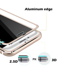 Aluminum adge 9h hardness tempered glass screen protector for iphone 6 tempered glass 9h