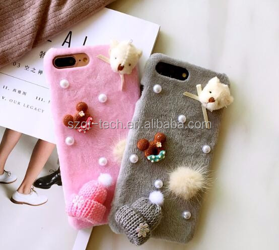 3d cartoon for iPhone 7 case,Christmas fur case for iPhone 7 8 X case,for iPhone cartoon case