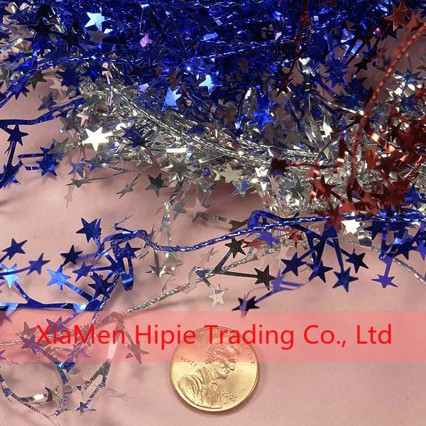 Red Glitter Star Wire Tinsel Garland Christmas Tree Xmas Party Decor