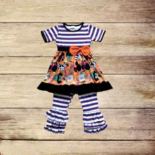 hot sale children fall clothing sets short sleeve mouse and candy pattern halloween girl outfits boutique kids outfits