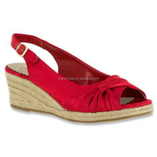 Flirty women's espadrille elasticized slingback strap feminine sandals jute-covered wedge heel peep toe sandals