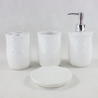 4 piece White Ceramic Bathroom Accessory Set