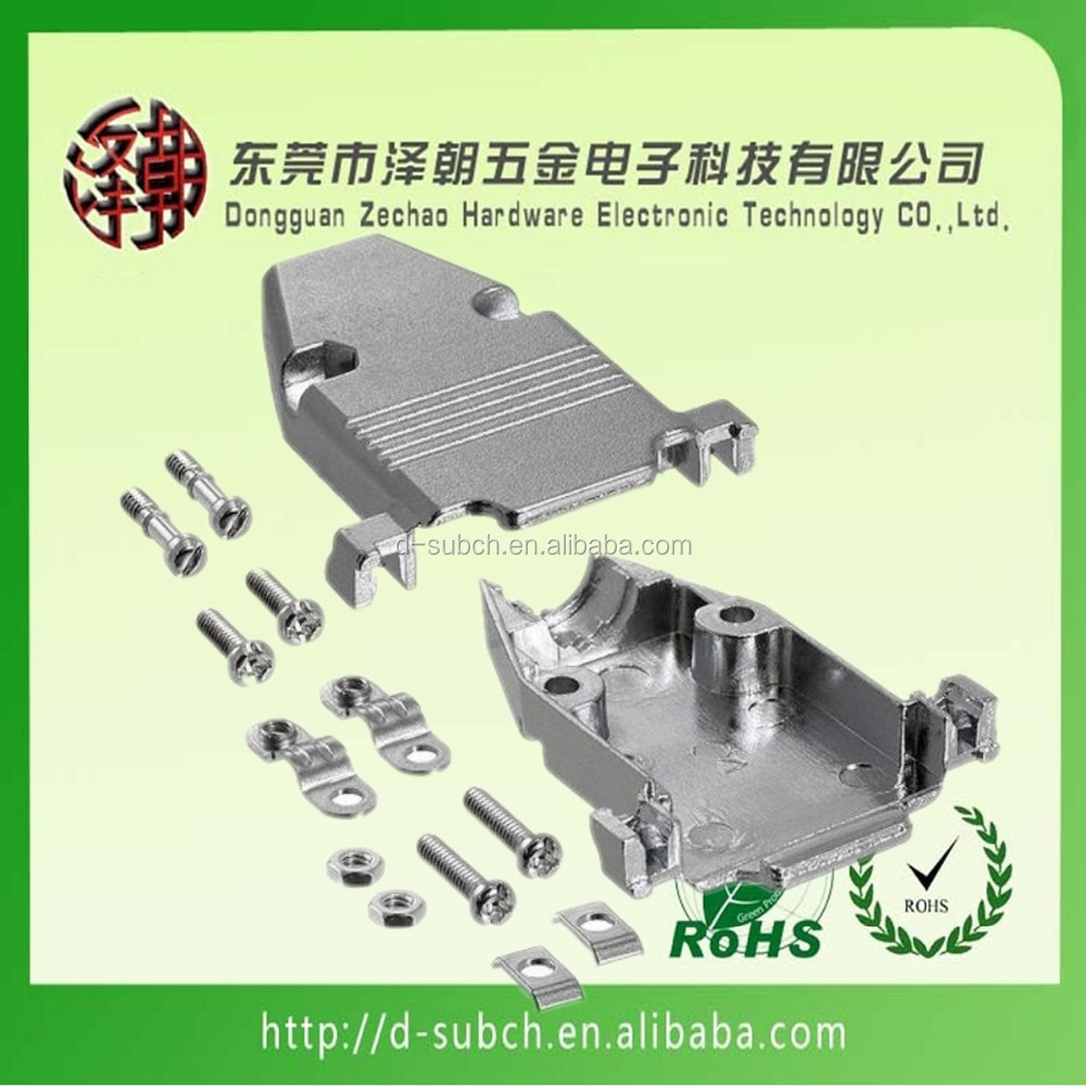 db9 female solder d-sub connector d-sub 9p 180 degree metal hood