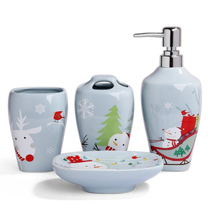Handmade ceramic bathroom accessories set christmas snowman holiday gifts