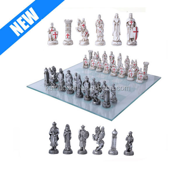 Wholesale Resin Chess Pieces RWith Glass Board Set