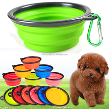 2017 Custom Logo silicone Cat foldable pet dog bowl with Carabiner