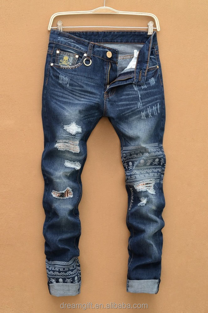 2015 hottest brand jeans men male straight leg denim trousers skull pants patch mend jeans men