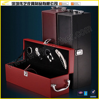 2017 Luxury Newly Hot Selling High Quality Wine Holder Custom Wine Carrier Case Leather Single Wine Bottle Gift Box Wholesale