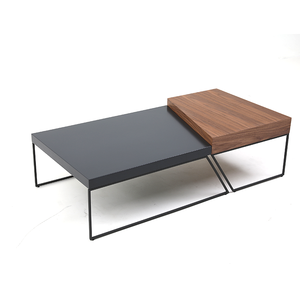 Wholesale Wood Material MDF Black Coated Leg Coffee Table