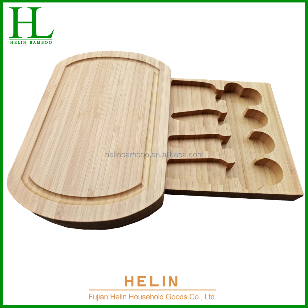Eco-friendly bamboo Cheese Cutting Board Set With Cheese Knife Wholesale