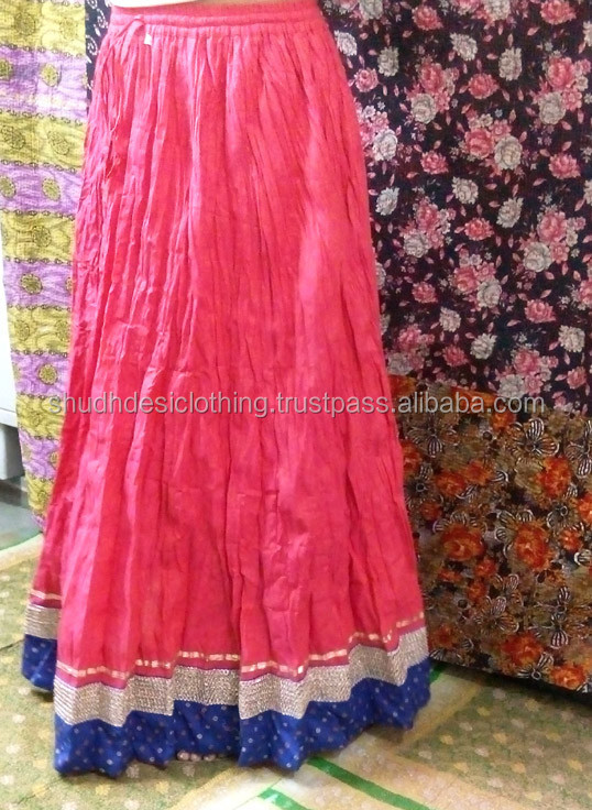 Indian Skirts - Designer Long Skirt With Brocade Lace - Exotic India