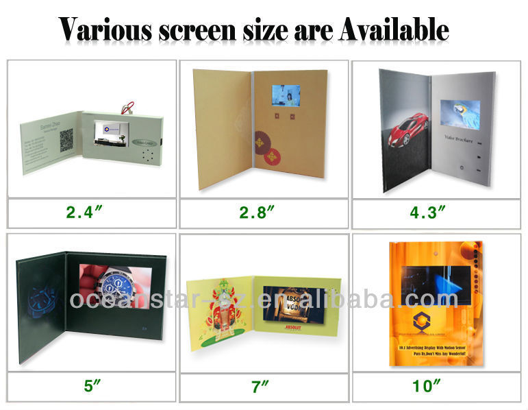 10.1inch lcd video greeting card lcd video business brochure