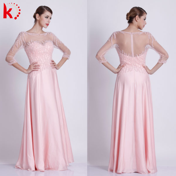 Chaozhou factory beautiful evening gowns 3/4 sleeve beaded round neck see through Chiffon kayting evening dress