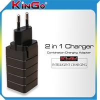 Kingo 2.1A Travel USB Adapter Charger With US Plug Or EU Plug for Samsung and Other Mobile Devices