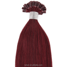 "20"" Remy Human Pre Bonded Nail U Tip Keratin Glue Hair Extension Red Wine 100s"