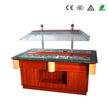 Restaurant buffet equipment and fan cooling marble top salad bar with CE ROHS approval