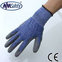 NMSAFETY EN388 3441 glove Navy blue nylon and white glassfibre and UHMWPE PU dipping on palm working glove good performance