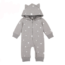 Spring Cartoon Star Pattern Hooded Baby Rompers Newborn Clothing Cotton Long Sleeve Jumpsuits Boys Girls Outerwear romper