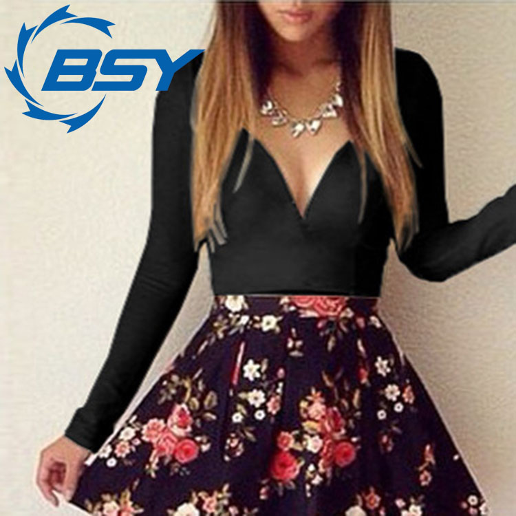 Fashion Flower Print Sexy A Line Low Cut V Neck Short Dress