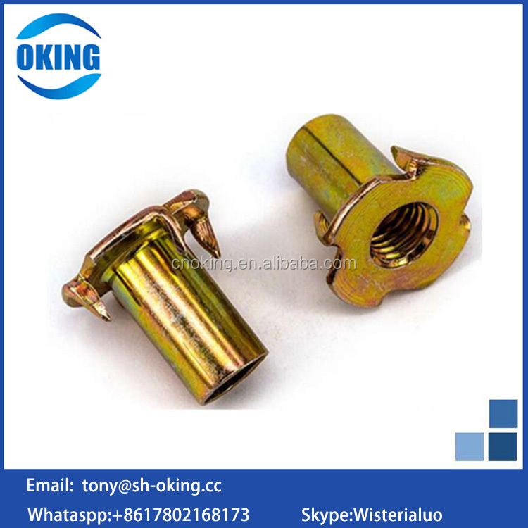 High quality brass tee nut with 4 prongs