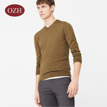 Long sleeves v-neck plain stitch pullover men sweater