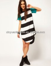 Women T-shirt printing dress with striped