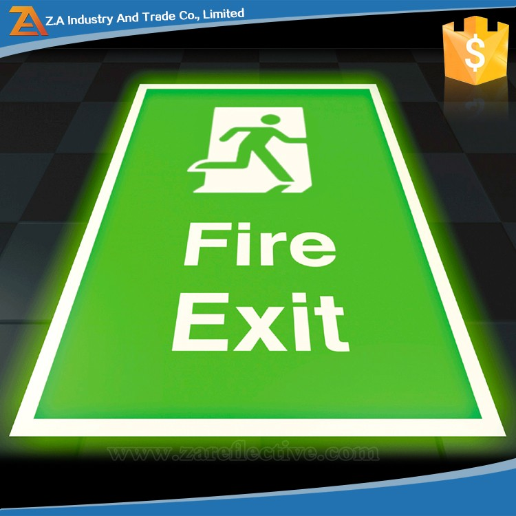 Available Sizes PVC Board Glow In The Dark Fabric/Film/Material/Tape Emergency Light Fire Exit Safety Sign for Screen Printing