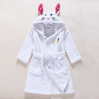 Hot sale cheap rabbit ear plush cartoon animal microfiber kids bathrobe