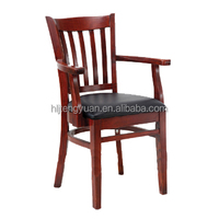 High Standard Armed Solid Rubber Wood Chair T8242
