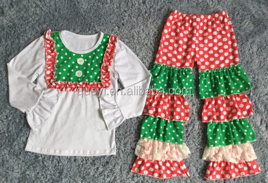 wholesale baby girls clothing sets christmas red green winter baby clothes white top and polka dot ruffle pants kids outfits