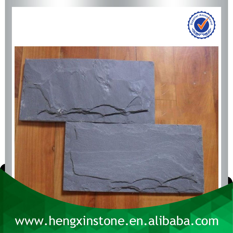 Chinese Factory Direct Sales Cheap Handmade Mushroom Edge 20*10*1cm Black Decorative Slate Stone Wall Covering