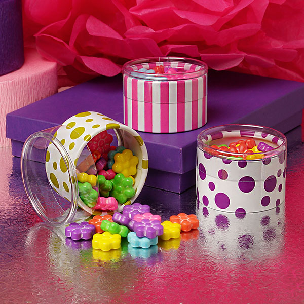 Fun and colorful patterns mini size plastic cylinder for candy